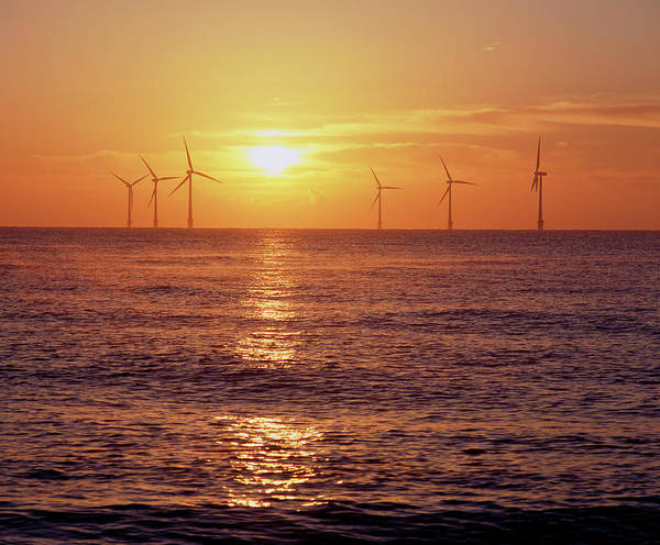 Rising Sun Photograph - Scroby Sands Offshore Wind Farm by Martin Bond/science Photo Library