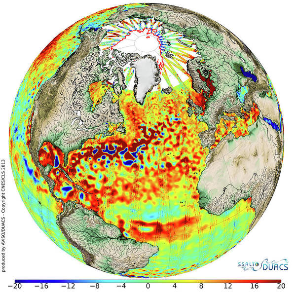 Satellite Photograph - Sea Level Anomalies by Cnes/cls
