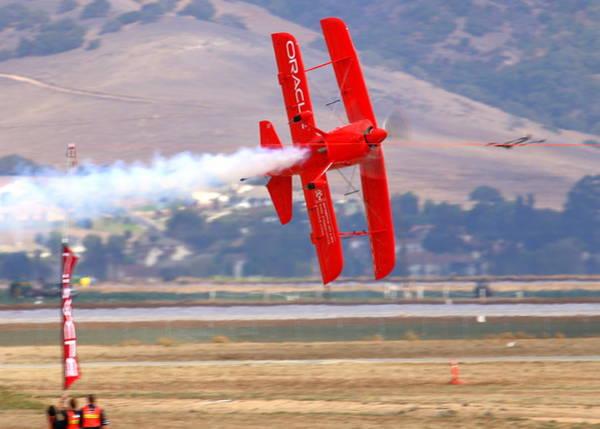 Photograph - Sean Tucker Cuts The Ribbon In His Oracle Challenger At Salinas Ksns Airshow by John King