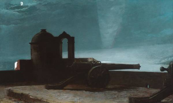 Cannon Beach Painting - Searchlight On Harbor Entrance by Celestial Images