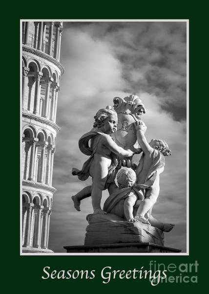 Photograph - Seasons Greetings With Fountain Of Angels  by Prints of Italy