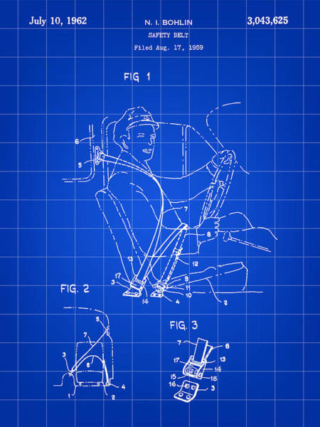 Wall Art - Digital Art - Seat Belt Patent 19659 - Blue by Stephen Younts