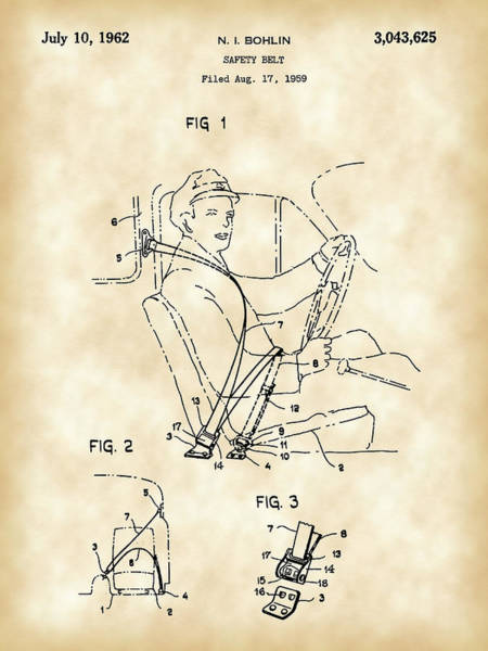 Wall Art - Digital Art - Seat Belt Patent 1959 - Vintage by Stephen Younts