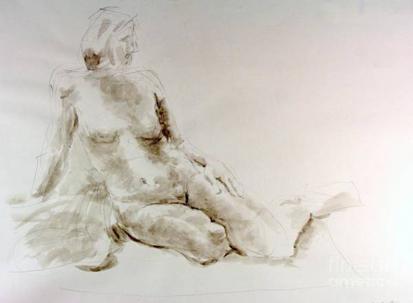 Nipples Drawing - Seated Nude  by Andy Gordon