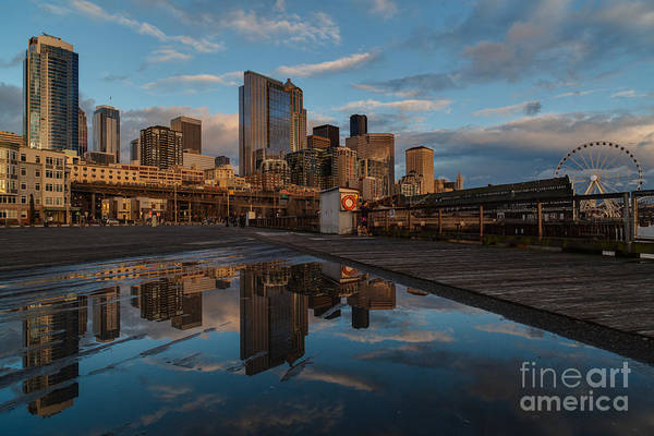Elliot Bay Wall Art - Photograph - Seattle Dusk Skyline by Mike Reid