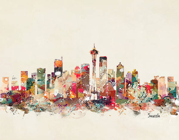 Washington State Wall Art - Painting - Seattle Washington by Bri Buckley