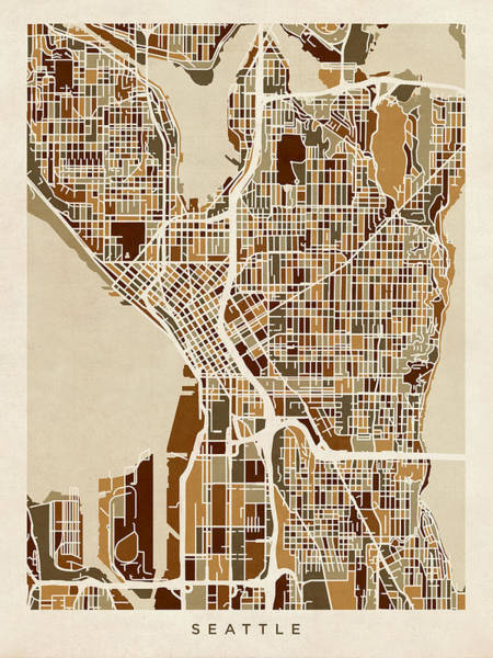 Seattle Digital Art - Seattle Washington Street Map by Michael Tompsett