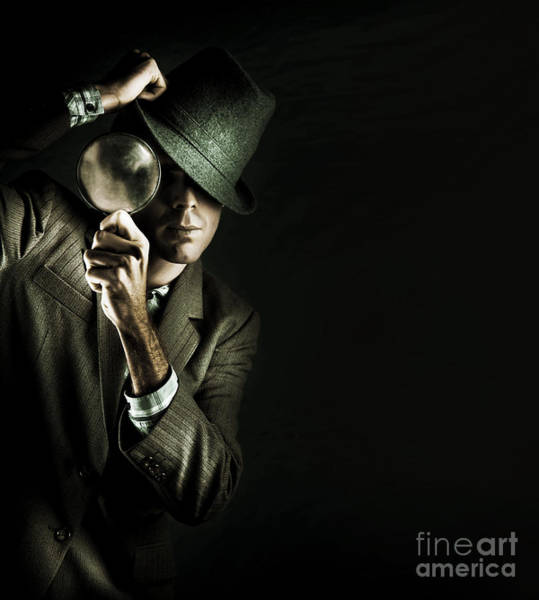 Businessman Photograph - Security Detective With Magnifying Glass by Jorgo Photography - Wall Art Gallery