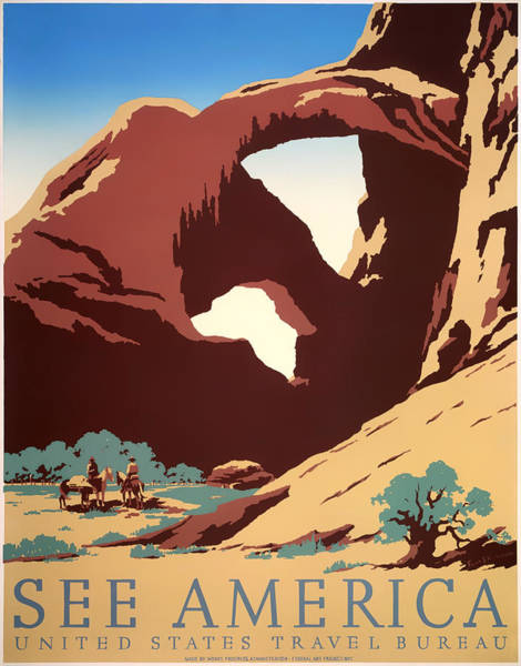 Brochure Drawing - See America 1937 by Mountain Dreams
