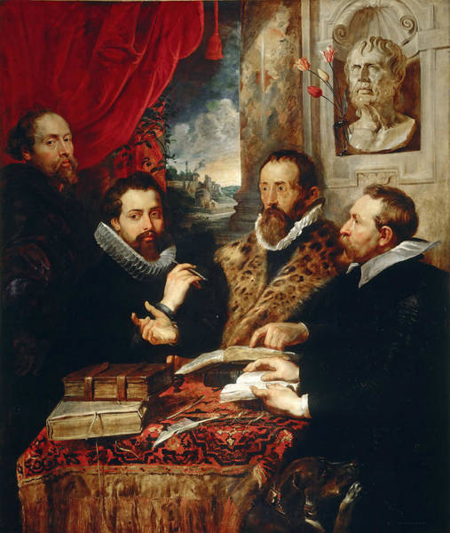 Selfportrait Painting - Selfportrait With Brother Philipp Justus Lipsius And Another Scholar by Peter Paul Rubens