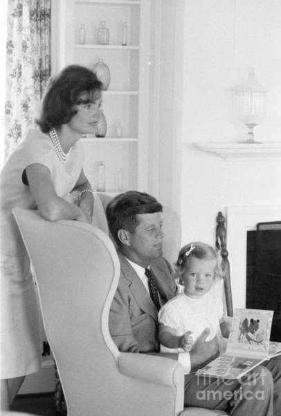 John F Kennedy Photograph - Senator John F. Kennedy With Jacqueline And Caroline by The Harrington Collection