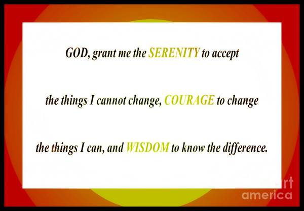 Serenity Prayer Digital Art - Serenity Prayer Orange Border by Barbara Griffin