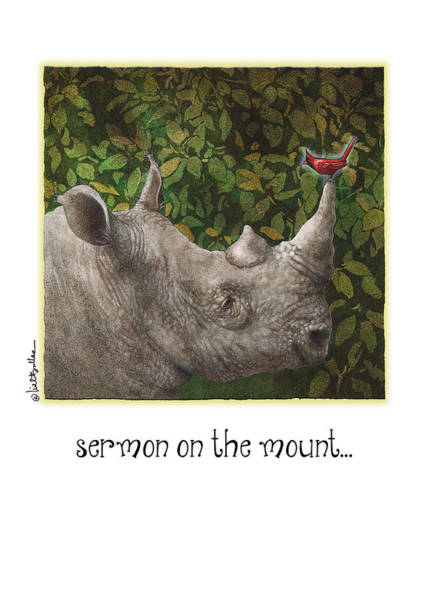 Rhino Painting - Sermon On The Mount... by Will Bullas