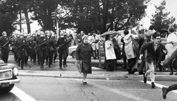 Demonstrators Photograph - Sf State Riots Scene by Underwood Archives