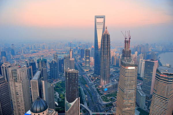 Photograph - Shanghai Aerial At Sunset by Songquan Deng