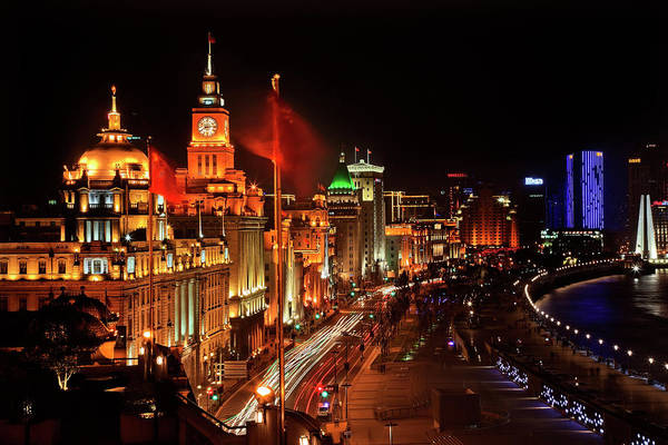 Wall Art - Photograph - Shanghai, China Bund At Night Cars by William Perry