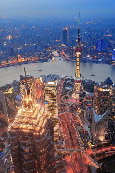 Photograph - Shanghai Sunset by Songquan Deng