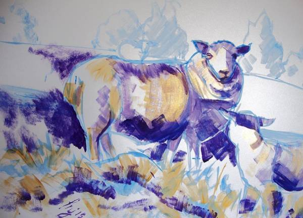 Drawing - Sheep And Lamb by Mike Jory