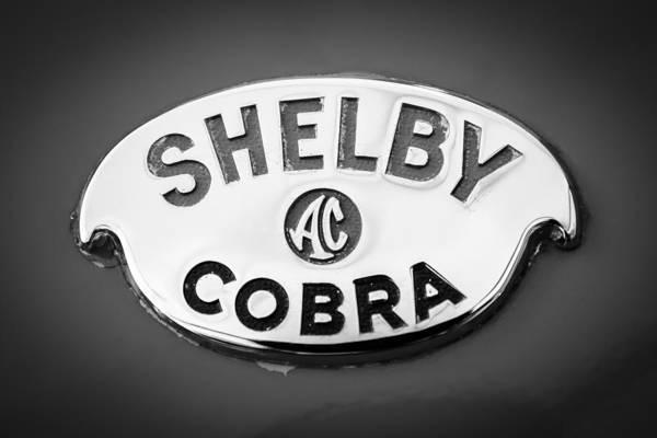 Ac Cobra Wall Art - Photograph - Shelby Ac Cobra Emblem -0282bw by Jill Reger