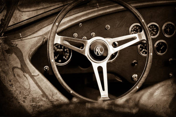 Steering Wheel Wall Art - Photograph - Shelby Ac Cobra Steering Wheel Emblem by Jill Reger