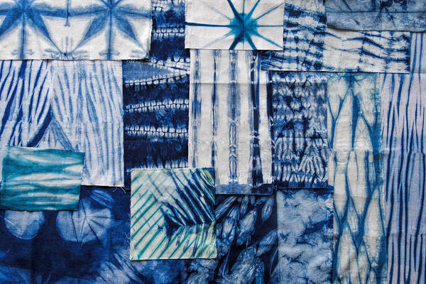 Aimee Stewart Wall Art - Painting - Shibori Patchwork Indigo by MGL Meiklejohn Graphics Licensing