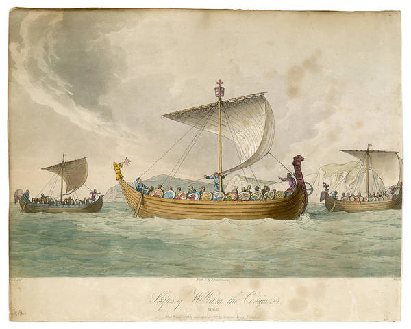Wall Art - Drawing - Ships Of William The Conqueror  Sailing by Mary Evans Picture Library