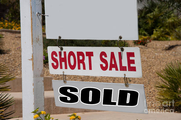 Photograph - Short Sale And Sold Real Estate Sign by Gunter Nezhoda