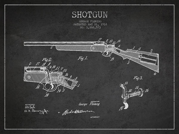 Patent Application Wall Art - Digital Art - Shotgun Patent Drawing From 1918 by Aged Pixel