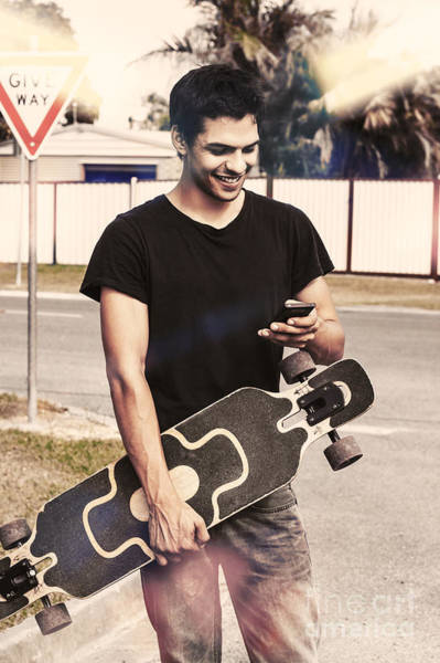 Skater Photograph - Skater Boy Sending Txt Message With A Smart-phone by Jorgo Photography - Wall Art Gallery