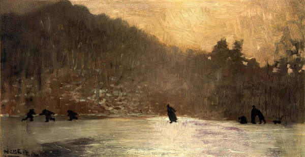 Frozen Lake Digital Art - Skating by Winslow Homer