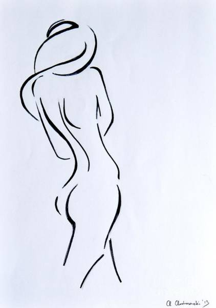 Nude Body Painting - Sketch Of A Nude Woman by Anna Androsovski