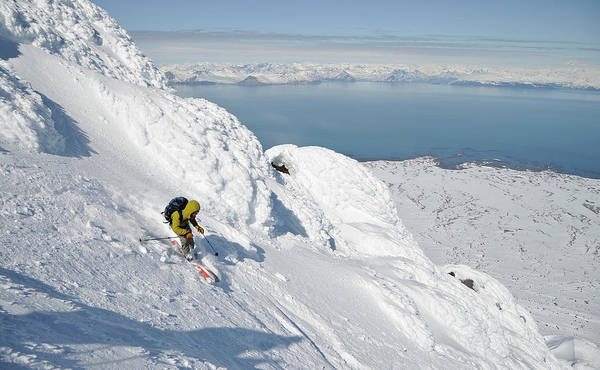 Gulf Of Alaska Photograph - Skiers Descend From The Summit Of  Mt by Copyright © 2012, by Matt Hage. All rights reserved.