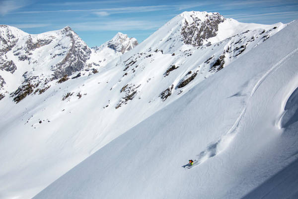Wall Art - Photograph - Skiing In Mountains Of Val Disere by Gabe Rogel