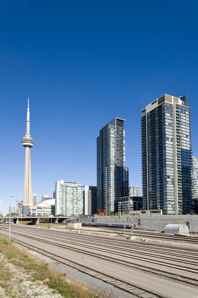 Cn Tower Photograph - Skyscrapers And Railway Yard With Cn by Panoramic Images