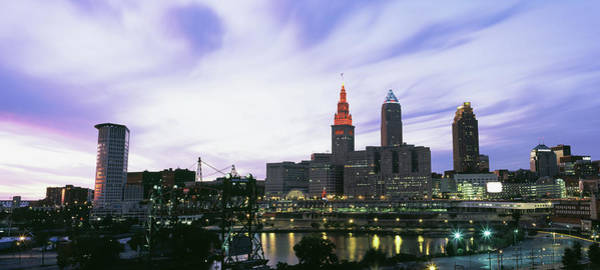 Cleveland Scene Photograph - Skyscrapers Lit Up At Dusk, Cleveland by Panoramic Images