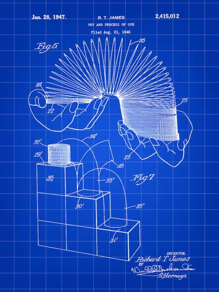 Wall Art - Digital Art - Slinky Patent 1946 - Blue by Stephen Younts