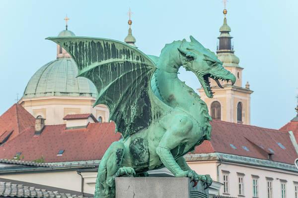 Ljubljana Wall Art - Photograph - Slovenia, Ljubljana, Dragon Bridge by Rob Tilley
