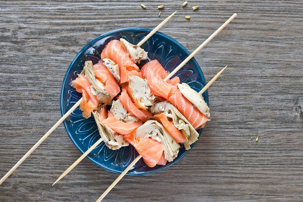 Artichokes Wall Art - Photograph - Smoked Salmon And Grilled Artichoke by Tom Gowanlock