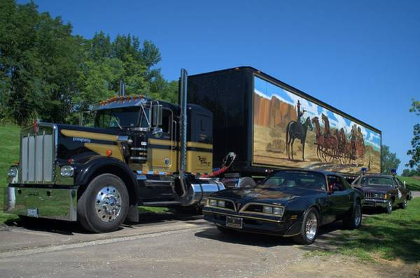 Photograph - Smokey And The Bandit Tribute 1973 Kenworth Semi Truck And The Bandit by Tim McCullough