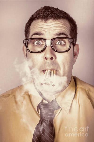 Addiction Wall Art - Photograph - Smoking Nerd Businessman Under Work Stress by Jorgo Photography - Wall Art Gallery