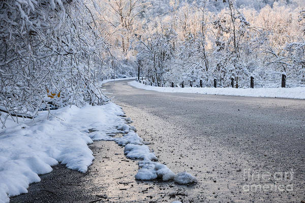 Pavement Wall Art - Photograph - Snow On Winter Road by Elena Elisseeva