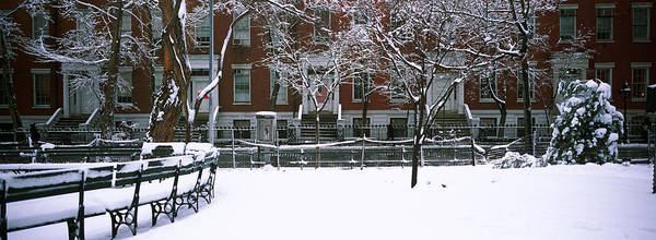 Washington Square Park Wall Art - Photograph - Snowcapped Benches In A Park by Panoramic Images