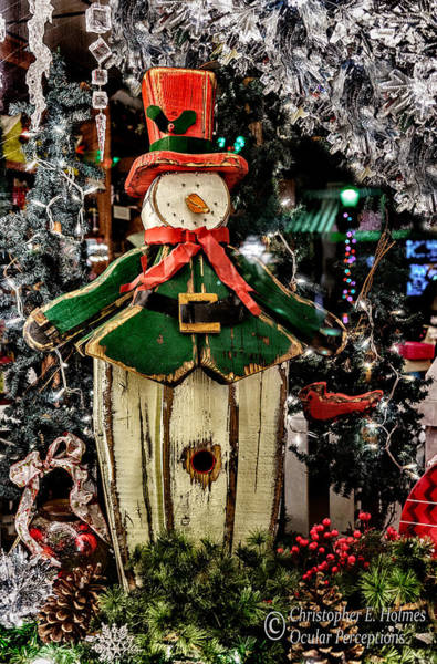 Photograph - Snowman In The Window by Christopher Holmes
