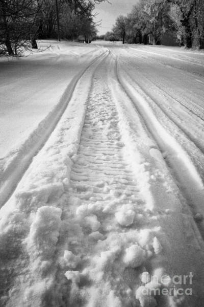 snowmobile tracks in snow in rural Forget Saskatchewan Canada by Joe Fox