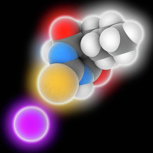 Short Cut Photograph - Sodium Thiopental Drug Molecule by Laguna Design