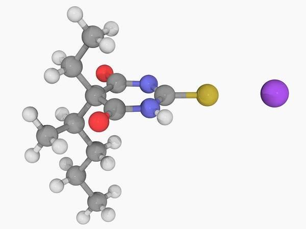 Short Cut Photograph - Sodium Thiopental Drug Molecule by Laguna Design/science Photo Library