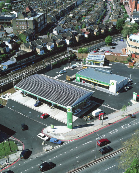 Filling Photograph - Solar-powered Petrol Station by Martin Bond/science Photo Library