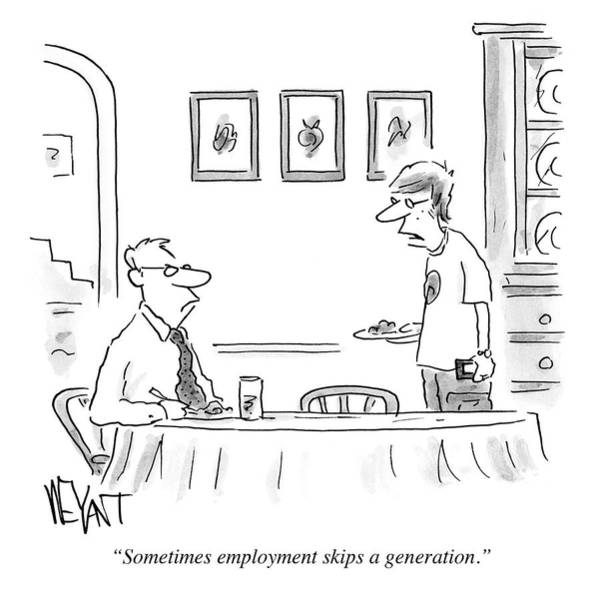 Genetics Drawing - Sometimes Employment Skips A Generation by Christopher Weyant