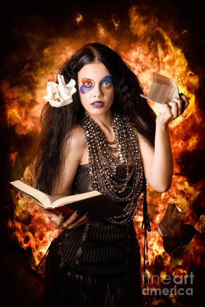 Black Magic Woman Wall Art - Photograph - Sorcerer Casting Black Magic Spells Of Fire by Jorgo Photography - Wall Art Gallery