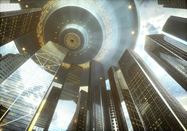 Ufology Photograph - Space Craft Over Futuristic City by Ktsdesign/science Photo Library